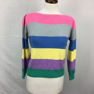 VTG 80s Jordache Rainbow Striped Sweater sz L